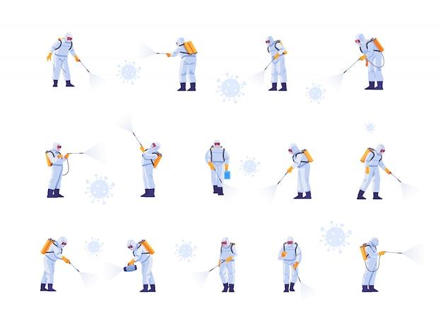 Desinfecterende werkteams dragen beschermende maskers en ruimtepakken tegen pandemisch coronavirus of covid-19 sprays. cartoon stijl illustratie geïsoleerd op een witte achtergrond.