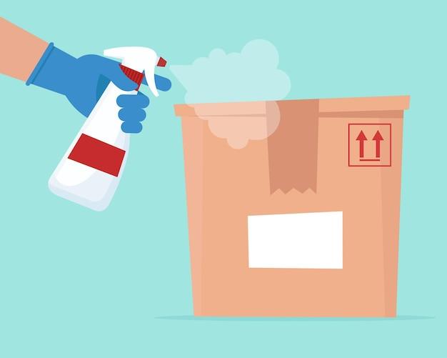 Desinfectie door ontsmettingsmiddel naar leveringsdoos. veilig leveringsconcept. vectorillustratie in vlakke stijl