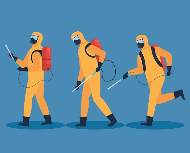 Desinfectie mannen icon set