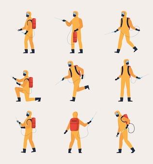Desinfectie mannen tekengroep