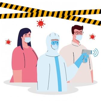 Desinfectie, persoon in viraal beschermend pak, met digitale contactloze infraroodthermometer, koppel temperatuur onder controle