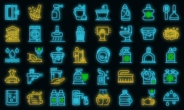 Desinfectie pictogrammen instellen. overzicht set van desinfectie vector iconen neon kleur op zwart