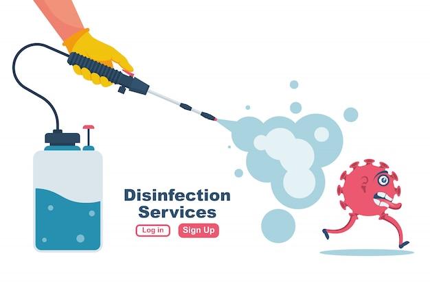 Desinfectie services concept. preventie die epidemische vector bestuurt