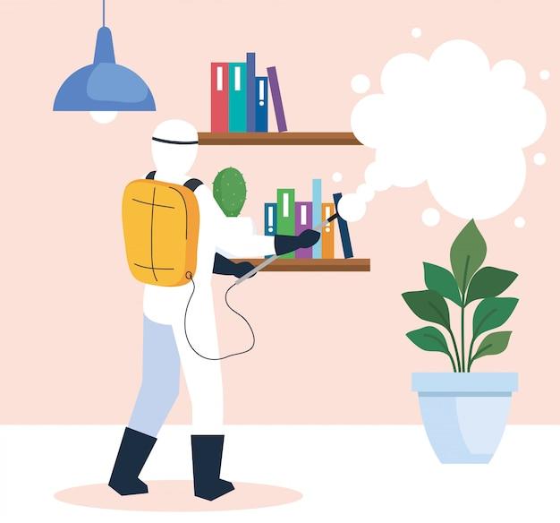 Desinfectie thuis door commerciële desinfectieservice, ontsmettingsmedewerker met beschermend pak en spray
