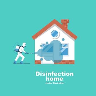 Desinfectie thuis. servicepreventie die de epidemie van coronavirus covid-2019 onder controle houdt.