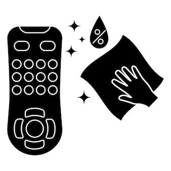 Desinfectie van de afstandsbediening van de tv desinfectie van de afstandsbediening