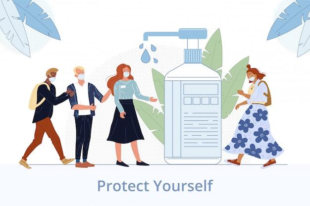 Desinfectie van de menselijke hand voor bescherming van de gezondheid