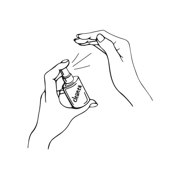 Desinfectie van handen handgetekende illustratie