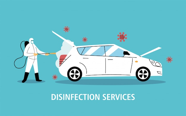Desinfectie van servicewagens door coronavirus of covid 19