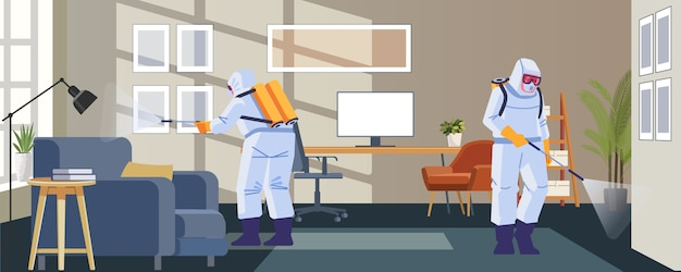 Desinfectie van woningen door commerciële desinfectiediensten, oppervlaktebehandeling van pandemisch coronavirus. desinfecterende werkers dragen een beschermend masker en passen sprays covid-19 aan. illustratie