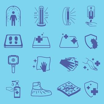 Desinfectiepictogrammen reinigings- en ontsmettingsmiddel oppervlaktewas handgel uv-lamp antivirale symbolen