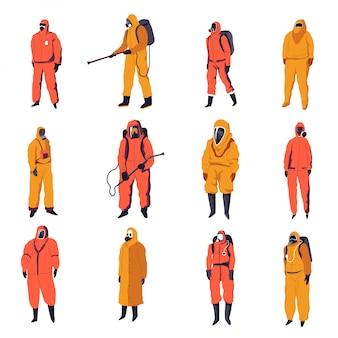 Desinfectieservice en dieptereiniger in kostuums