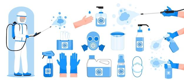 Desinfectieset vector handdesinfecterende flessen gasmasker worden getoond