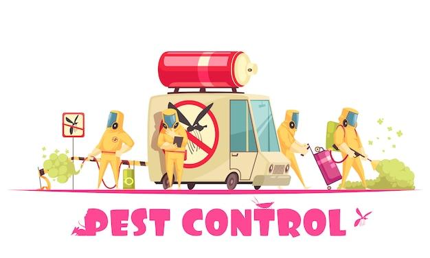 Desinfector crew doodle achtergrond
