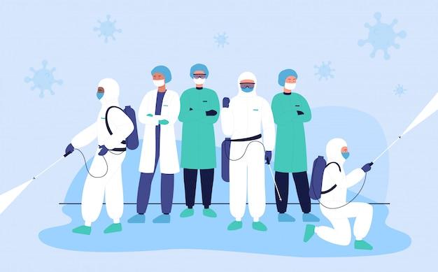 Desinfectors beschermen artsen tegen coronavirus, covid karakter platte concept illustratie.