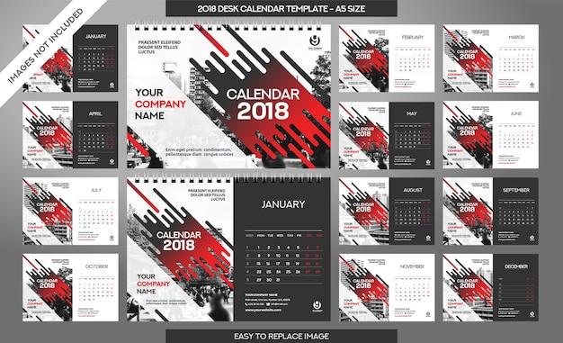 Desk calendar 2018-sjabloon - 12 maanden inbegrepen