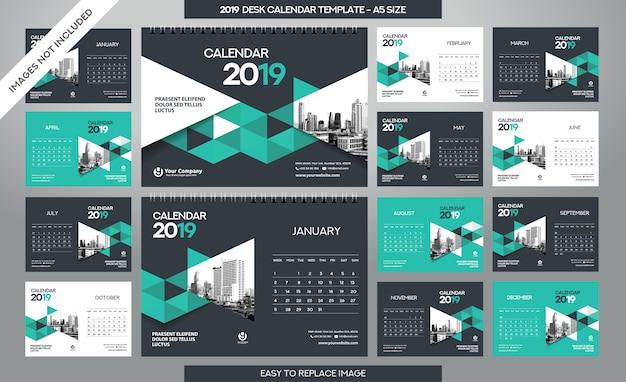 Desk calendar 2019-sjabloon