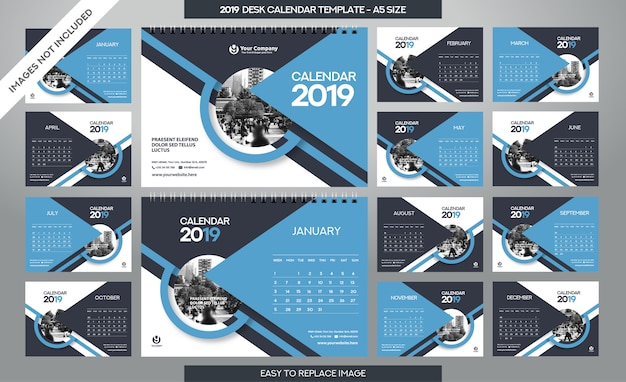 Desk calendar 2019-sjabloon
