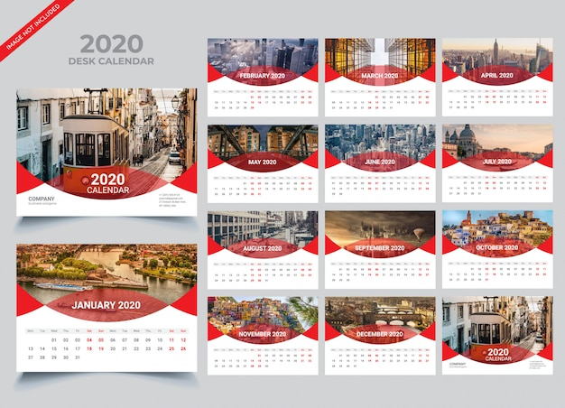 Desk calendar 2020-sjabloon