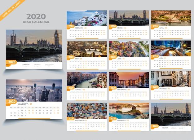 Desk calendar 2020-sjabloon