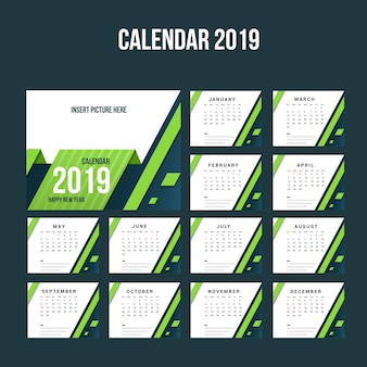 Desk modern calendar 2018-sjabloon