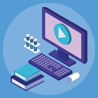 Desktop en boeken onderwijs online tech