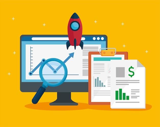 Desktop- en financiële documenten met raket