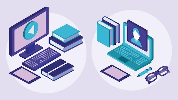 Desktop en laptop onderwijs online tech
