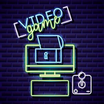 Desktop, kluis en joystick, videogame neon lineaire stijl