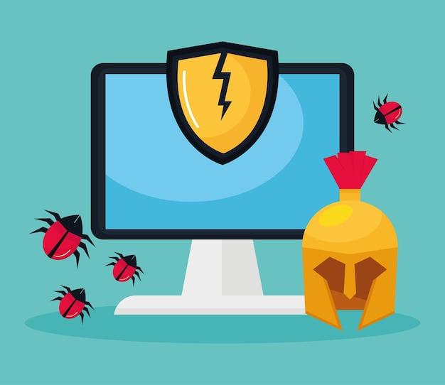 Desktop met cyberbeveiliging