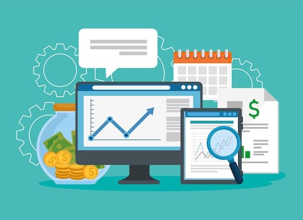 Desktop met financiële vastgestelde pictogrammen