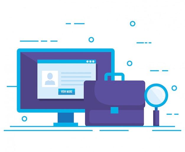 Desktop met sociale media marketing pictogrammen