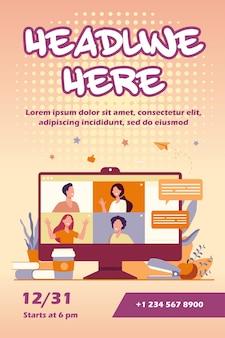 Desktop met virtuele vergadering of videoconferentie-flyer-sjabloon