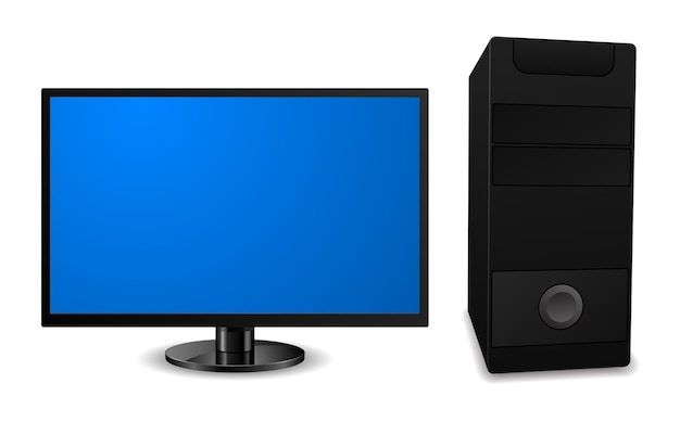 Desktop pc-computer met lcd-monitorpictogram