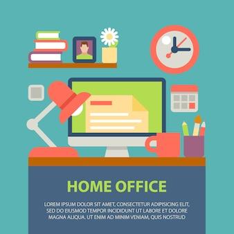 Desktop, plat ontwerp, kantoorinterieur