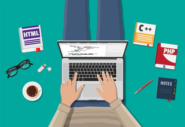 Desktop van freelance programmeur of coder.