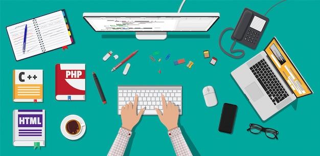 Desktop van programmeur of coder