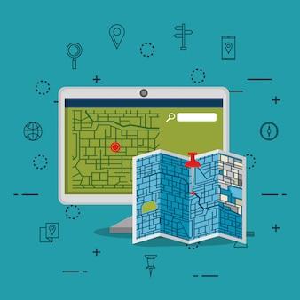 Desktopcomputer met gps-navigatiesoftware