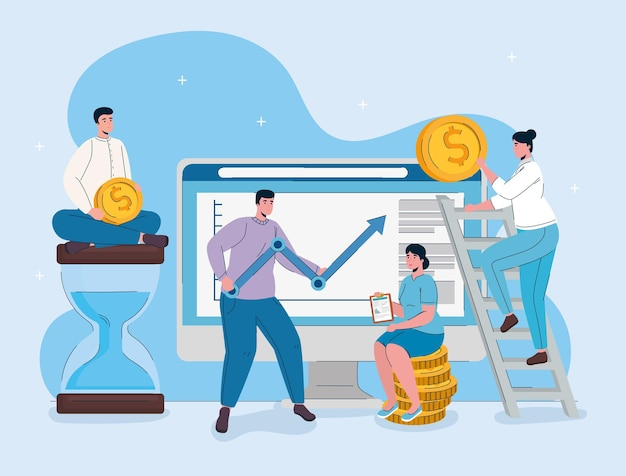 Desktopcomputer met man hijs statistieken pijl en mensen uit het bedrijfsleven