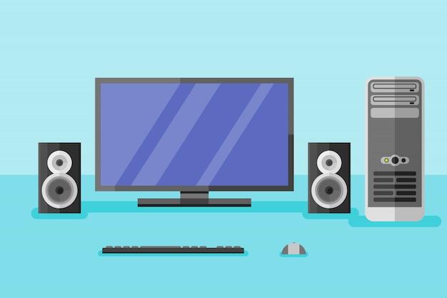 Desktopcomputer met monitor, luidsprekers, toetsenbord en muis in vlakke stijl.