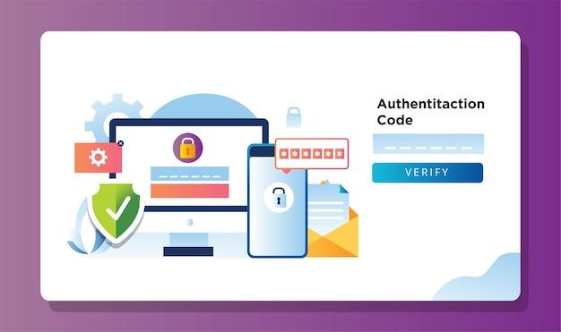 Desktopcomputer met smartphone verzendt authenticatiecode