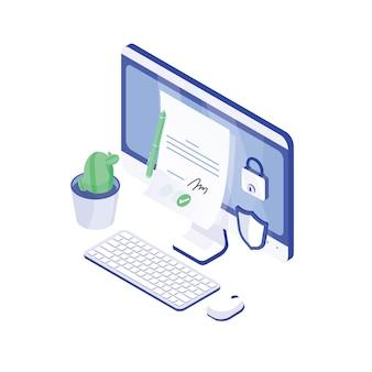 Desktopcomputer, papieren document met handtekening erop, slot en schild. elektronische handtekening of e-handtekening, authenticiteitsbevestiging. veilige, veilige technologie. moderne isometrische vectorillustratie.