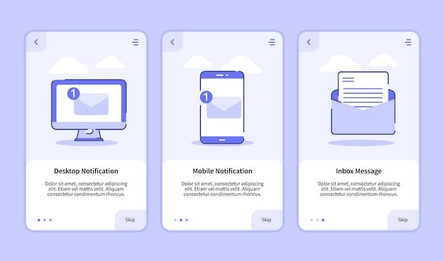 Desktopmelding mobiele melding inbox bericht onboarding-scherm