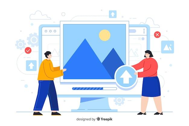 Desktopscherm met mensen die afbeeldingen uploaden