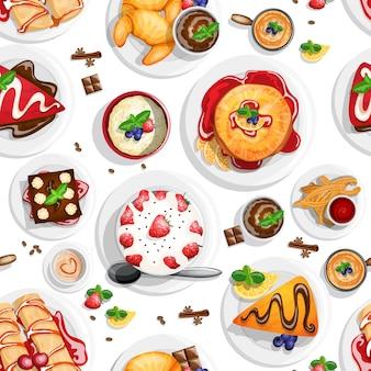 Dessert bovenaanzicht naadloze patroon