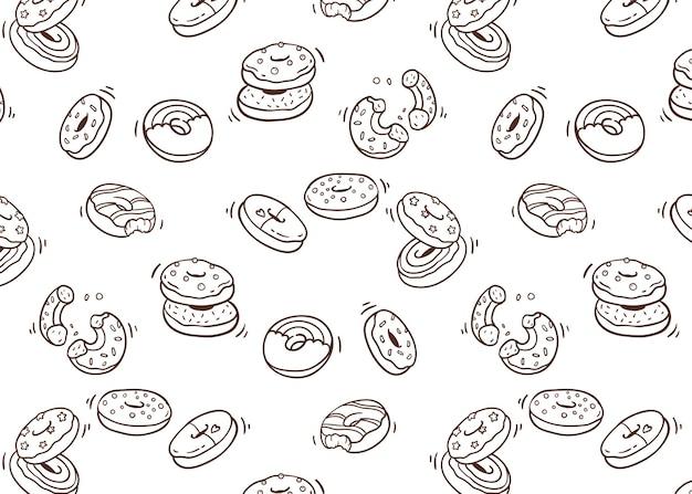 Dessert doodle patroon