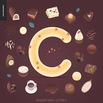 Dessert lettertype - letter c