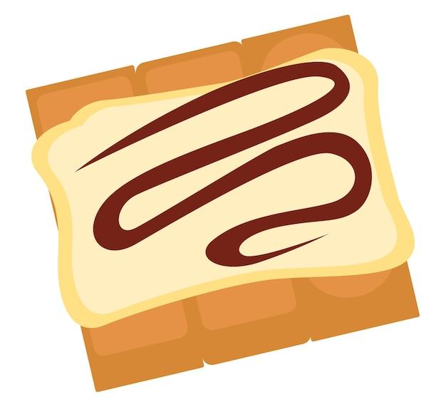 Dessert met mousse en chocolade topping. heerlijke zoetigheden geserveerd in diner of café. menukaart in restaurant. roomijs met assortimenten cacao, zoetwaren of bakkerijwinkels. vector in vlakke stijl