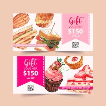 Dessert tegoedbon ontwerp met sandwich, choux room, cupcake aquarel illustratie.