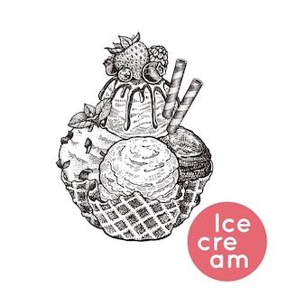 Dessert van ijsbessenwafels en koekjes
